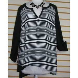 Elegant silky poly striped tab button sleeved top